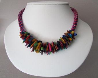Rainbow Shell Kumihimo Necklace