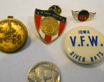 Collection of 4 Vintage Iowa VFW pins from the 60's and 70's