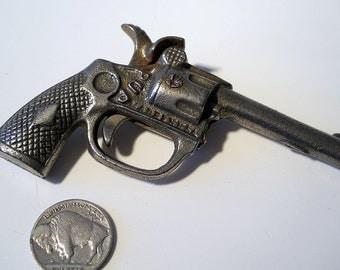 "Antique toy cap gun, toy pistol ""Pup"" cast iron, Junior G Man 1930's, pretend play revolver B6"