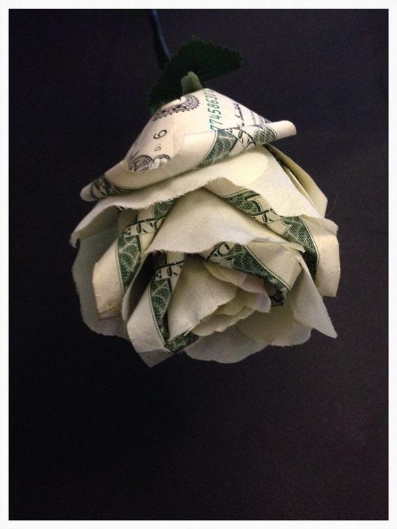 Items similar to Money Origami & Silk White Rose - Cool ... - photo#42