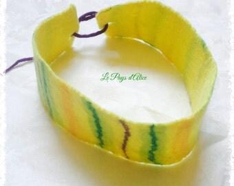 Headband or headband in felted wool 100% Merino - tart