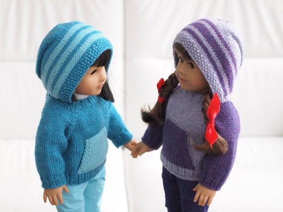 Kangaroo Hoodie Knitting Pattern : Kangaroo Campfire Hoodie Knitting Pattern for 18 Inch ...