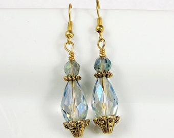 Periwinkle & Antiqued Gold filled drop earrings - Periwinkle dangle earrings - Periwinkle jewelry - Bridesmaids
