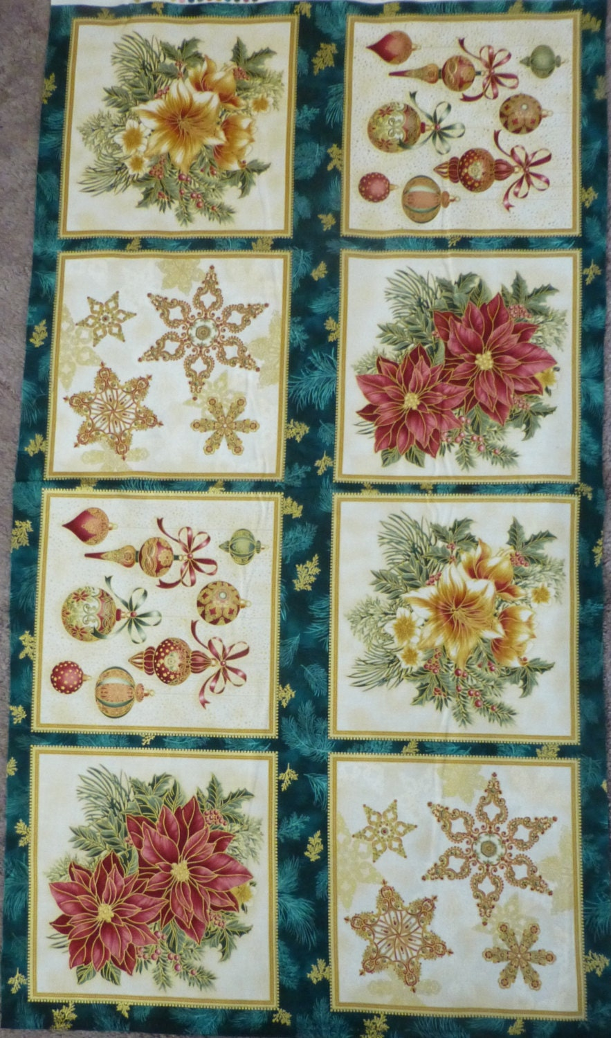 Cotton Fabric Home Decor Craft Fabric Christmas Panel Holiday Flourish 7 Robert Kaufman