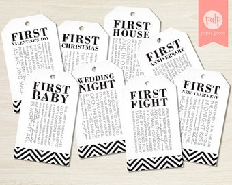PRINTED ITEM: Bridal Shower Wine Tags with Poems for Wedding Shower or Bachelorette Wine Gift Basket - Set of 8 (Personalized)