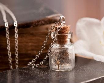 Dandelion necklace, nature necklace, white necklace, tiny necklace, dandelion pendant, antique brass necklace, glass vial necklace