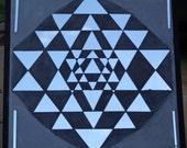 Sri Yantra Mirror, hand cut mosaic.