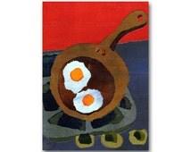 Sunny Side Up - Sunday Morning Breakfast - Retro Art Kitchen Print - 1950's Diner Art - CARD or PRINT with a custom mat (CMEM2013046)