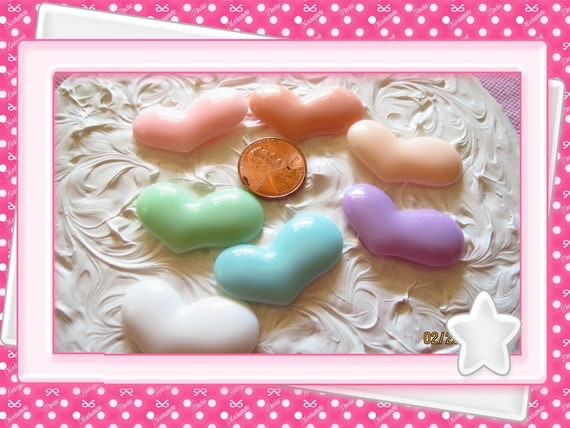 0: )- CABOCHON -( Funky Hearts Med Size Pastel Colors Baby