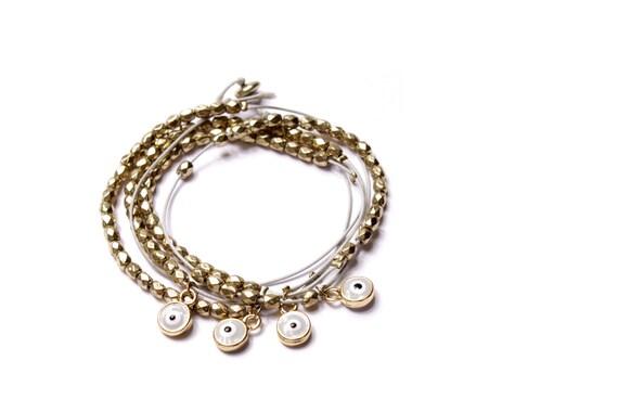Evil Eye bracelet with gold tone beads - wrap around bracelet - Gray bracelet - cord bracelet