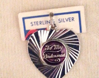 Vintage Sterling Silver 'To My Bridesmaid' Charm