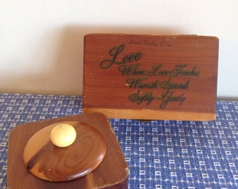 Pair of Vintage Wooden Trinket Boxes