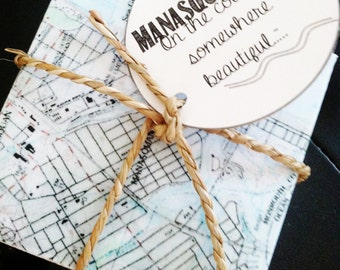 Manasquan New Jersey Vintage Map Stone Coaster Set - Free Shipping