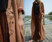 238---Hand Embroidered Silk Cotton Blend Reversible Coat, Long Coat.