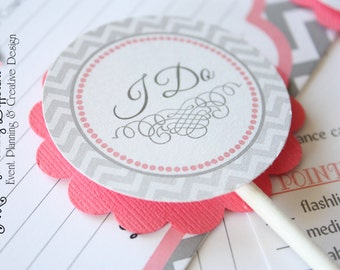 Pink Coral and Gray Cupcake Toppers