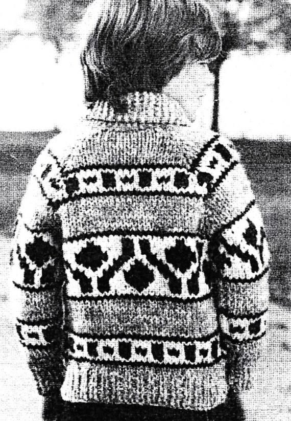Chinook 10 Child Native Canadian Sweater Knitting Pattern