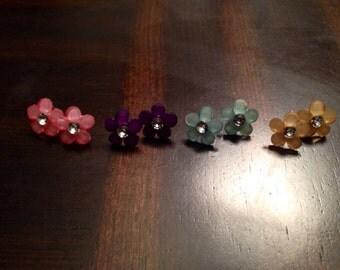Colored Rhinestone Flower Earrings (2 sets)