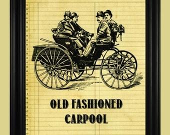 Vintage 1800's Car Illustration, Duryea Motor Wagon Print, Classic Car Poster, Old Fashioned Carpool