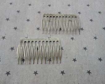 200pcs Antique Bronze Plated Metal Hair Combs (12 teeth) 64x38mm HA42