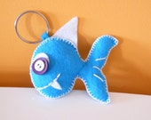 BLUE FISH handmade blue felt key chain. Original fish key ring. Animal shape felt key chain. Cute funny felt fish key ring with buttons.