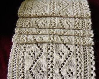 """Knitting pattern for Lace Scarf """"Zigging and Zagging"""""""