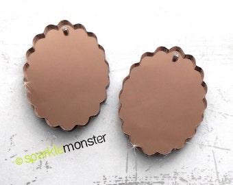 Small Scalloped Oval Cameo - 2 pcs, 18x25 mm, bronze mirror, charm, laser cut acrylic