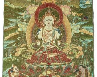 Vintage Tibetan Woven Thangka, Buddhism Thangka, Spiritual Art, Wall Hanging Art