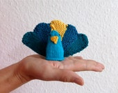 Miniature handknit Peacock, Miniature Knit Doll Finger Puppet in bright colors
