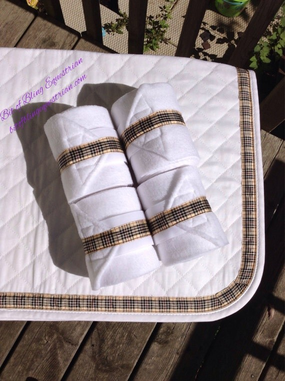 4 Custom Polo Wraps with Beige Plaid Ribbon