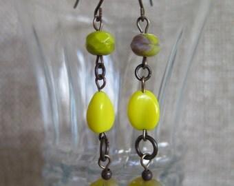 lemon yellow earrings, bright yellow  earrings, yellow and mauve earrings, bright earrings, lightweight fun earrings