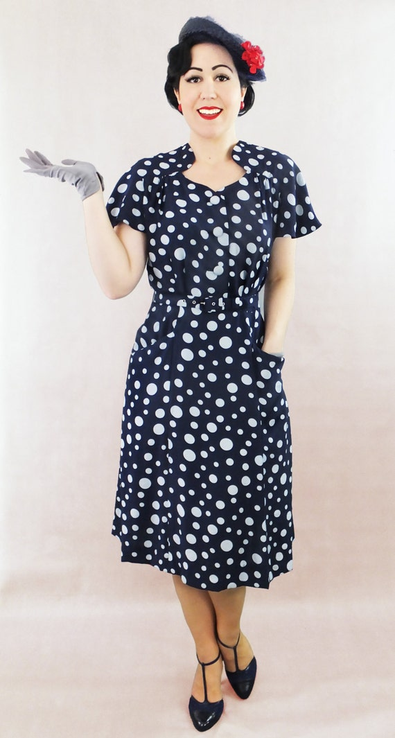 1940s Day Dresses Vintage Rayon 1930s 1940s  dress / Authentic vintage reproduction dress / navy polka dot 30s 40s dress / XS S M L XL / Made to order $256.05 AT vintagedancer.com