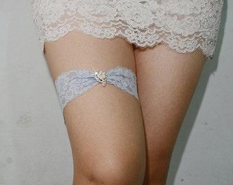 light blue bridal garter, something blue garter, wedding garter, bride garter, lace garter, rhinestone beaded lace garter