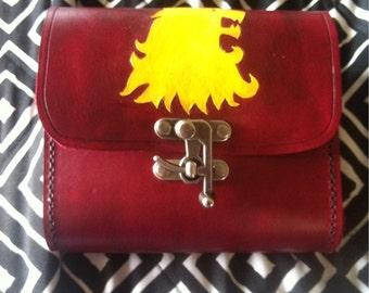 Red Sporran/Belt Pouch w/Lion Head Carving, Handmade