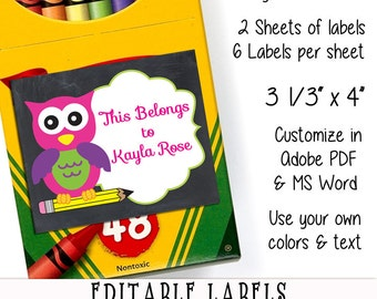 Back to School Editable Printable Labels Cute Chalkboard Girl Owl First Day of School Printable Name Labels School Stickers School Supplies