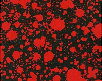 Blood Type - Blood Spatter Fabric on Black - Robert Kaufman