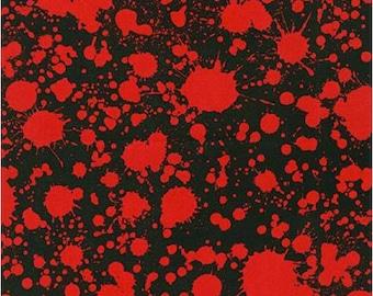 Blood Type - Blood Spatter Fabric on Black - Robert Kaufman