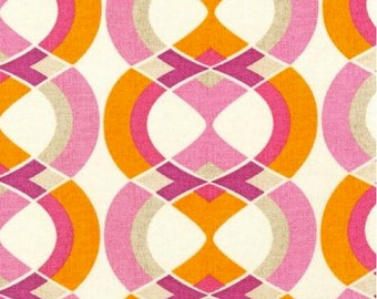 Art Deco Shapes Geo Stripe SORBET Pink from Mod Tex for Robert Kaufman Fabric
