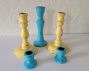 shabby chic candle stick holders, yellow and  blue set of 5