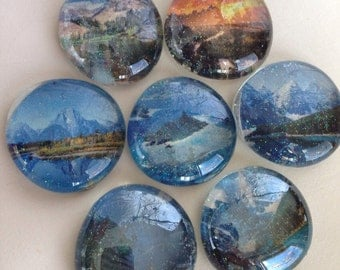 Mountain landscape glass magnets. Sure to brighten any fridge locker or white board
