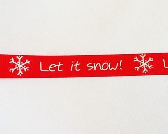 Red ribbon Let It Snow!, Ribbon, Christmas Ribbon, Gift Wrap Supplies