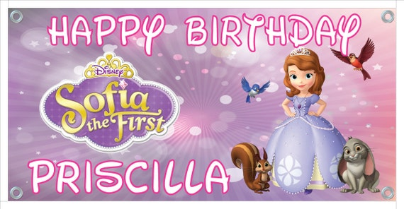 Personalized birthday banner - 4ft x 2ft - Sofia the First, Disney, princess