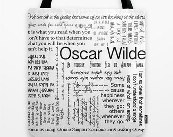 Oscar Wilde Irish Poet Quotes Typography Tote Bag, Custom Color, Black and White, Market, Shopping, Beach or Gift bag