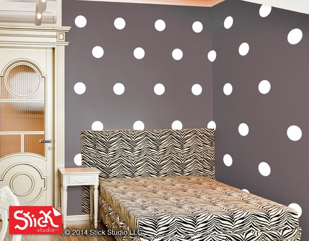 ... stickers | White polka dot wall appliques. 🔎zoom