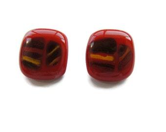 Fused glass earrings, painted fused earrings, red rectangle fused  earrings