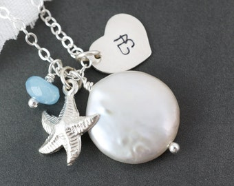 Starfish necklaces set of 11, blue aquamarine, coin pearl, heart charm neckalce, silver starfish pendant, bridesmaids gifts