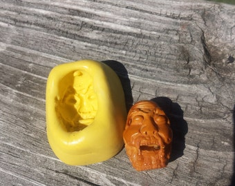 Scary Face-Vintage, Hand-carved Seed- used to make a Flexible Silicone Mold