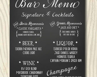 Custom Wedding Chalkboard Sign - Menu, Bar or Drink Menu - 16x20