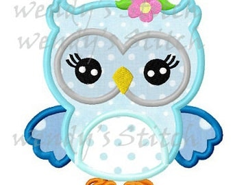 Flower owl machine embroidery design digital applique pattern