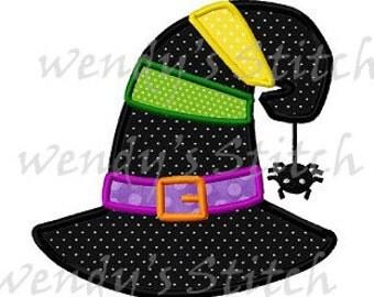 Halloween witch hat with spider applique machine embroidery design