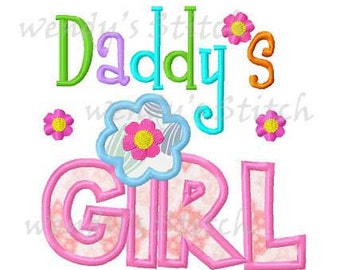 Daddy's girl applique machine embroidery design digital pattern instant download